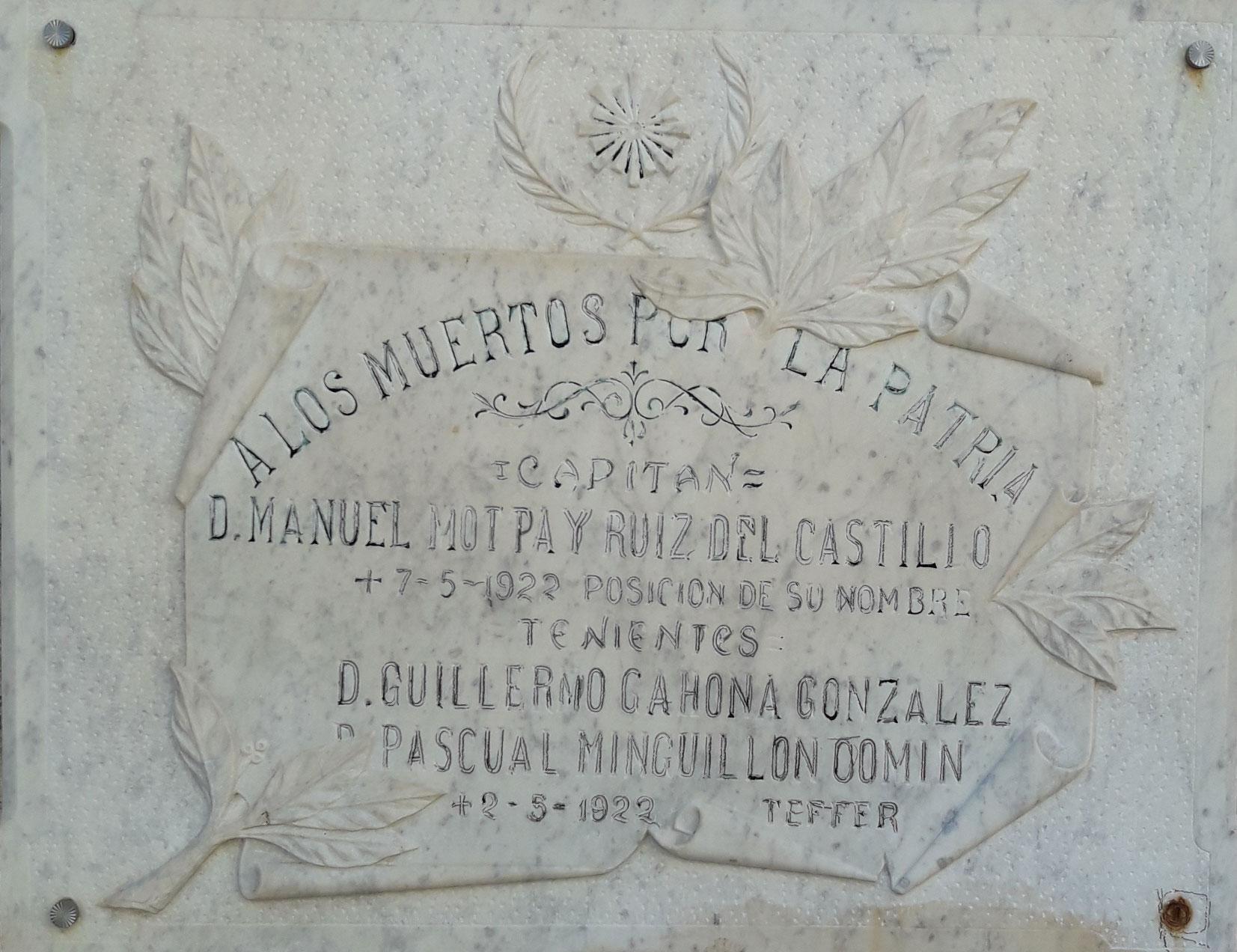 Placa Conmemorativa caidos  cuerpo de intendencia